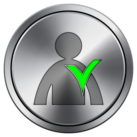 User online icon. Internet button on white background. Metallic round icon.