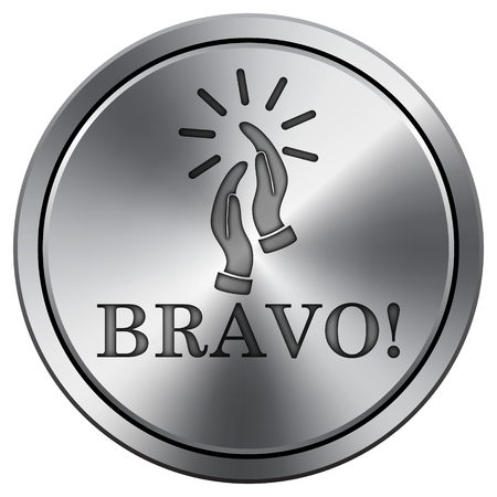 Bravo icon. Internet button on white background. Metallic round icon.