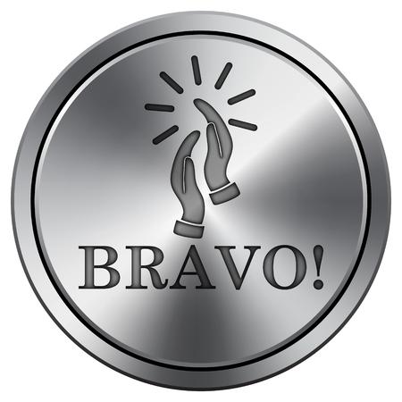 bravo: Bravo icon. Internet button on white background. Metallic round icon.
