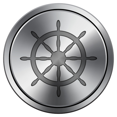 Nautical wheel icon. Internet button on white background. Metallic round icon. Stock Photo