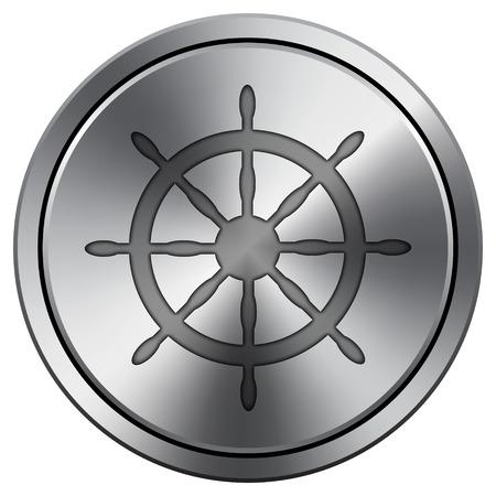 piloting: Nautical wheel icon. Internet button on white background. Metallic round icon. Stock Photo