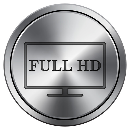 full hd: Full HD icon. Internet button on white background. Metallic round icon.