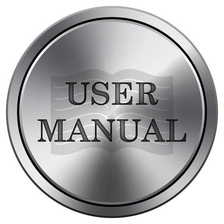 handbook: User manual icon. Internet button on white background. Metallic round icon.