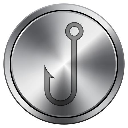 Fish hook icon. Internet button on white background. Metallic round icon.