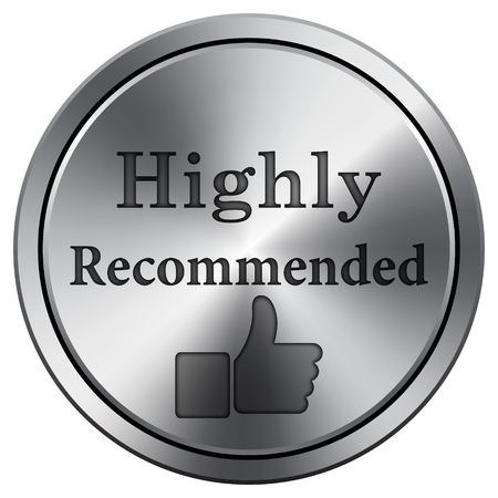 recommendations: Highly recommended icon. Internet button on white background. Metallic round icon. Stock Photo