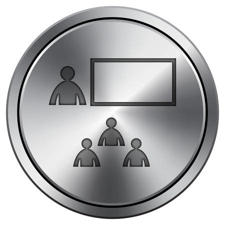 stage coach: Presenting icon. Internet button on white background. Metallic round icon.