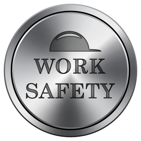 dangerous construction: Work safety icon. Internet button on white background. Metallic round icon.