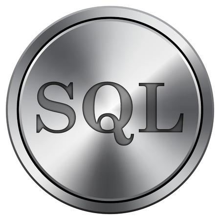 sql: SQL icon. Internet button on white background. Metallic round icon.