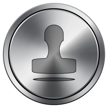 Stamp icon. Internet button on white background. Metallic round icon.