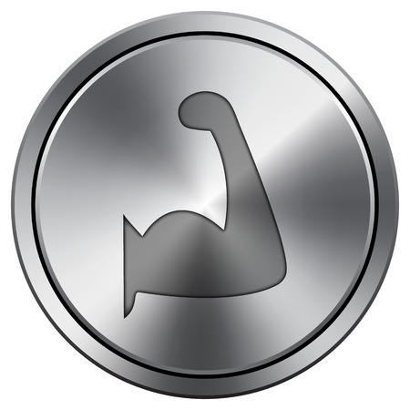 Muscle icon. Internet button on white background. Metallic round icon.