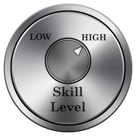 Skill level icon. Internet button on white background. Metallic round icon.