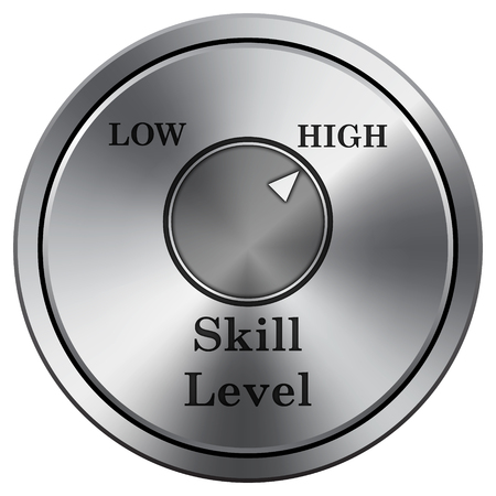 skilled: Skill level icon. Internet button on white background. Metallic round icon.