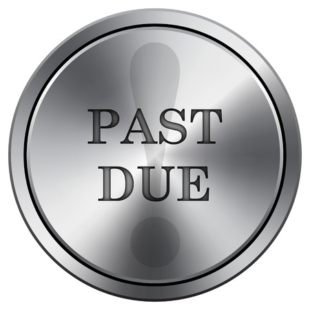 past: Past due icon. Internet button on white background. Metallic round icon.