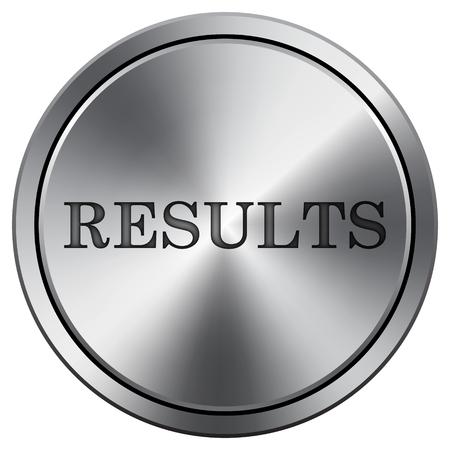 consequence: Results icon. Internet button on white background. Metallic round icon.