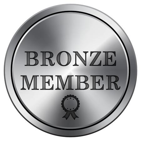 premium member: Bronze member icon. Internet button on white background. Metallic round icon. Stock Photo