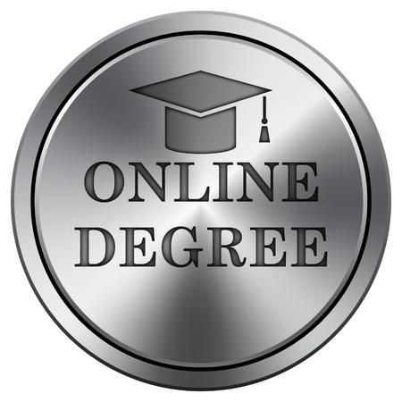 online degree: Online degree icon. Internet button on white background. Metallic round icon.