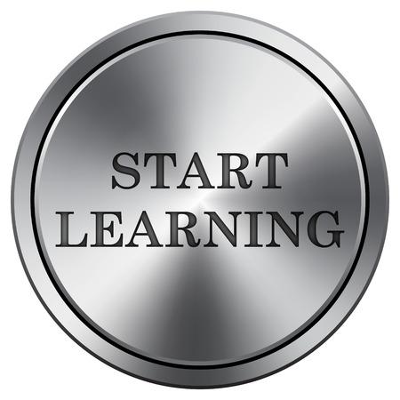 connexion: Start learn icon. Internet button on white background. Metallic round icon.