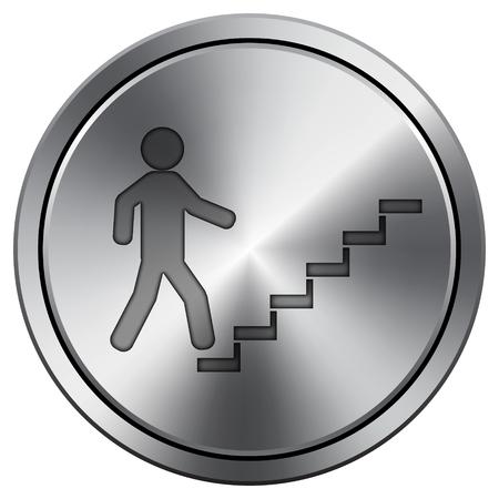 metallic stairs: Businessman on stairs - success icon. Internet button on white background. Metallic round icon.