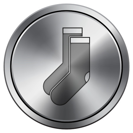 hosiery: Socks icon. Internet button on white background. Metallic round icon.
