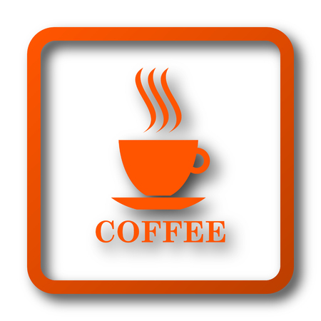 Coffee cup icon. Internet button on white background.