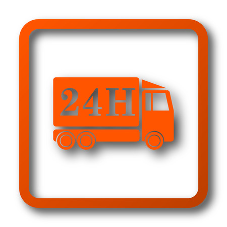 24H delivery truck icon. Internet button on white background. Stock Photo