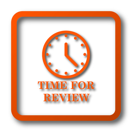 review: Time for review icon. Internet button on white background. Stock Photo