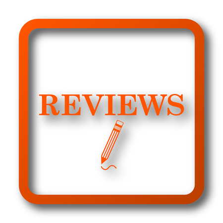 reviews: Reviews icon. Internet button on white background. Stock Photo
