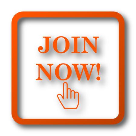 Inscris-toi maintenant icône. bouton Internet sur fond blanc. Banque d'images