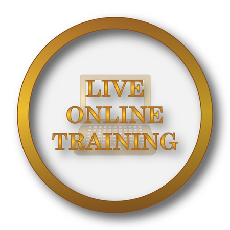 Live online training icon. Internet button on white background.