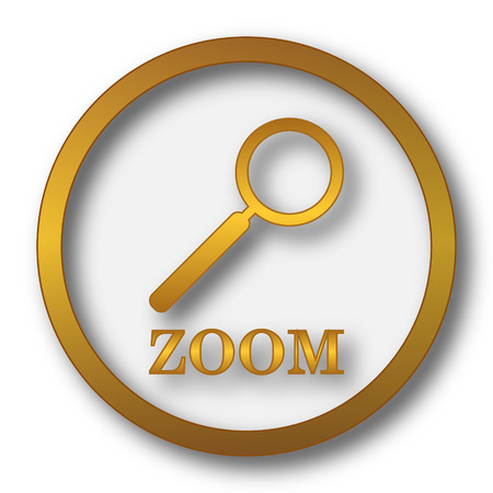 zoom: Zoom with loupe icon. Internet button on white background.