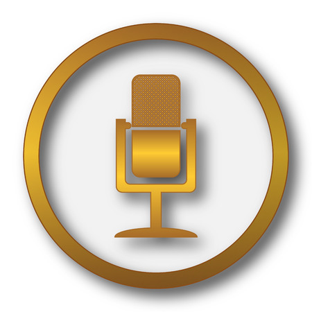 multimedia background: Microphone icon. Internet button on white background.