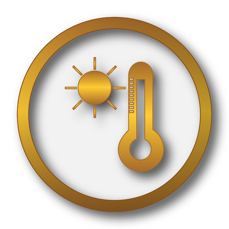 Sun and thermometer icon. Internet button on white background.