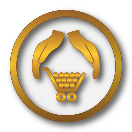 golden rule: Consumer protection, protecting hands icon. Internet button on white background.