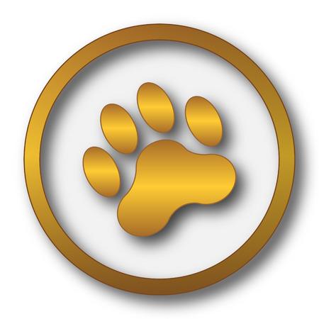 tigre cachorro: Icono de impresión de la pata. Botón de internet sobre fondo blanco. Foto de archivo