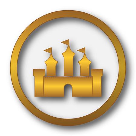 Castle icon. Internet button on white background.