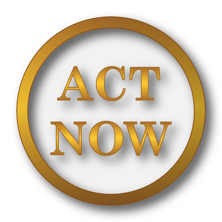 Act now icon. Internet button on white background.