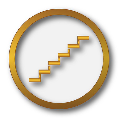 Stairs icon. Internet button on white background. Stock Photo