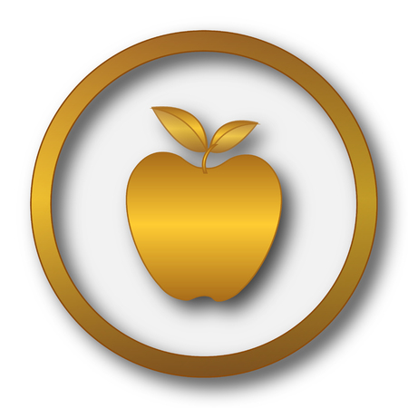 golden apple: Apple icon. Internet button on white background.