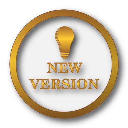 New version icon. Internet button on white background. Stock Photo