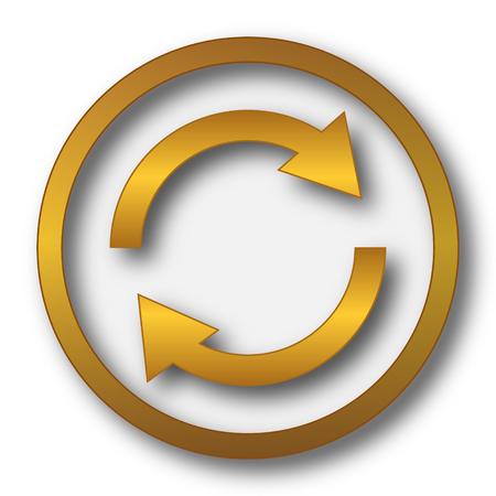 two arrows: Reload two arrows icon. Internet button on white background. Stock Photo