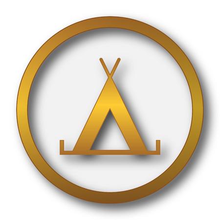 Tent icon. Internet button on white background. Stock Photo