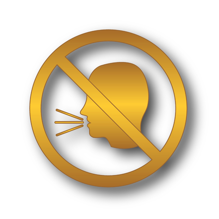 No talking icon. Internet button on white background.