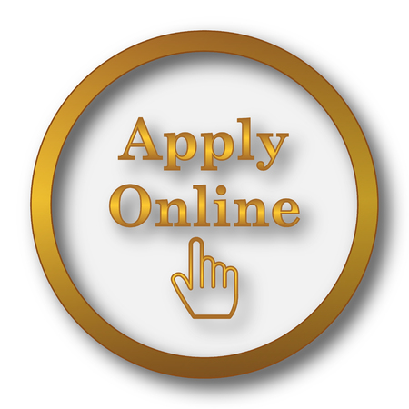 Apply online icon. Internet button on white background.