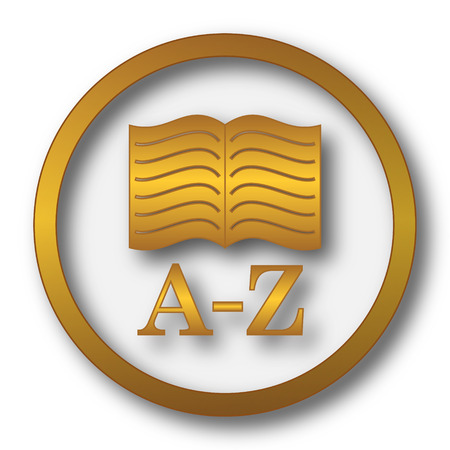 A-Z book icon. Internet button on white background.