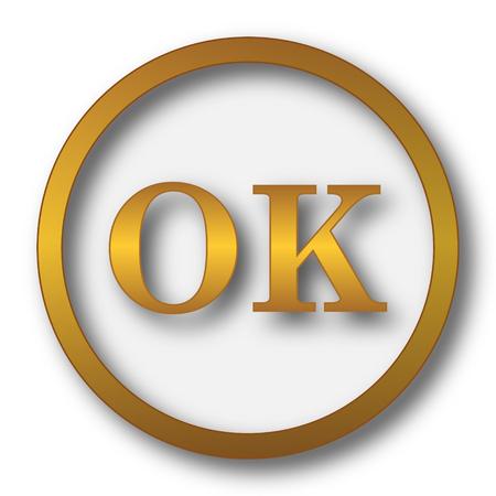 OK icon. Internet button on white background.