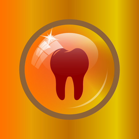 Tooth icon. Internet button on colored background.