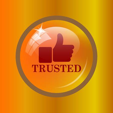 trusted: Trusted icon. Internet button on colored background. Stock Photo