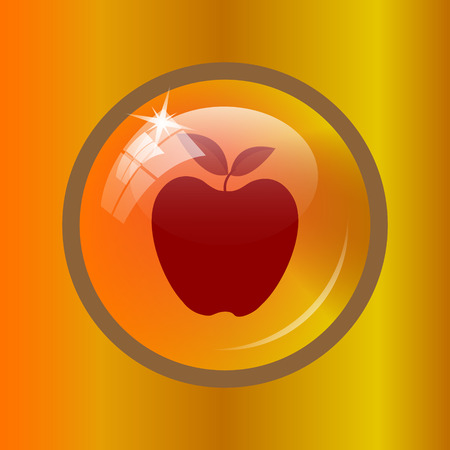 golden apple: Apple icon. Internet button on colored background. Stock Photo