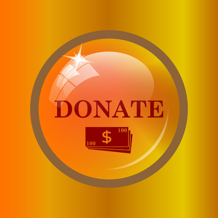 Donate icon. Internet button on colored background.
