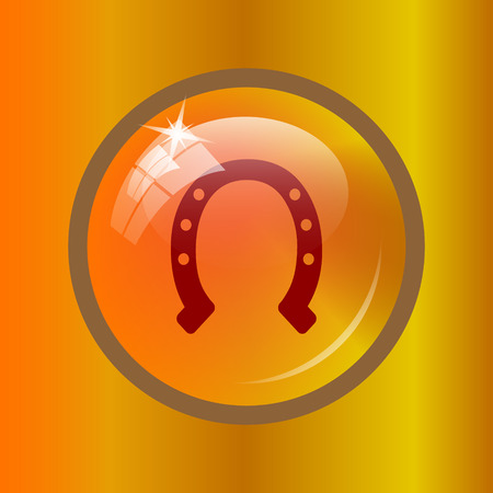 Horseshoe icon. Internet button on colored background.